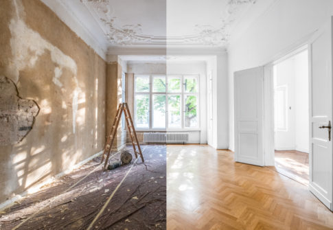 renovation concept - apartment before and after restoration or refurbishment